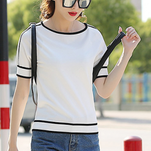 Stripes Contrast Solid Color Casual Wear Top - White