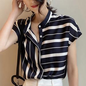 Stripes Print Button Closure Stand Neck Blouse Top - Black