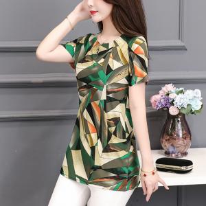 Digital Printed Round Neck Short Sleeves Blouse Top - Green