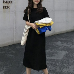 Solid Color Round Neck Short Sleeves Midi Dress - Black