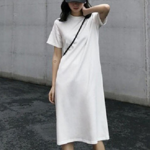 Solid Color Round Neck Short Sleeves Midi Dress - White