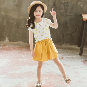 Banana Print Short Sleeve Two Piece Kids Set - White Yellow