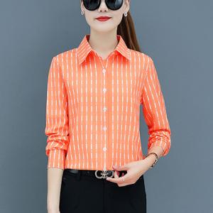 Stripes Printed Button Closure Full Sleeves Shirt - Orange