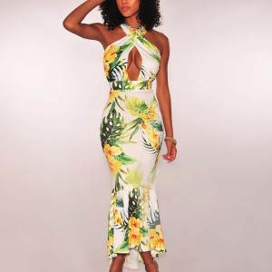 Halter Neck Floral Printed Bodyfitted Maxi Dress