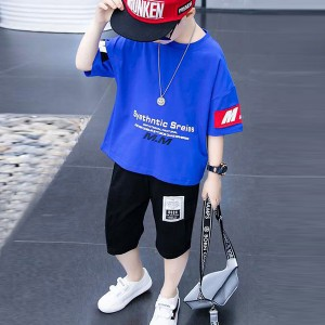 O Neck Short Sleeves Two Pieces Suit For Kids - Blue