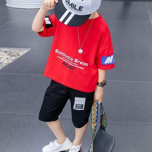 O Neck Short Sleeves Two Pieces Suit For Kids - Red