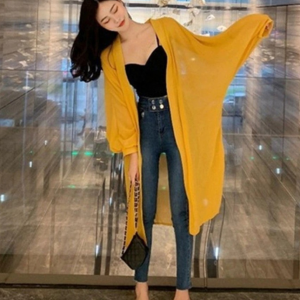 Thin Fabric Loose Outwear Solid Color Cardigan - Yellow