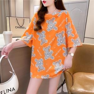 Bear Printed Round Neck Loose Wear Top - Orange