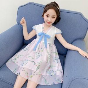 High Quality Floral Printed Kids Dress - Light Pink