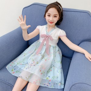 High Quality Floral Printed Kids Dress - Sky Blue