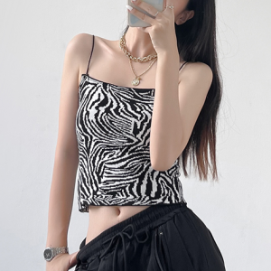 Spaghetti Strap Body Fitted Summer Top - Black and White