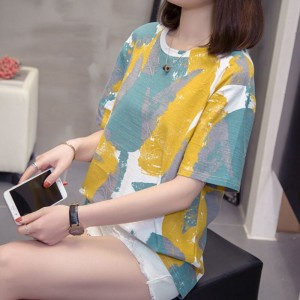 Printed Round Neck Loose Wear Top - Blue