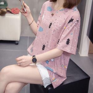 Printed Round Neck Loose Wear Top - Pink