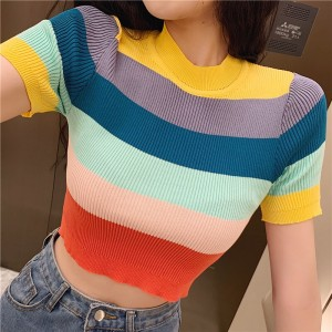 Stripes Print O Neck Body Fitted Crop Top - Multicolor