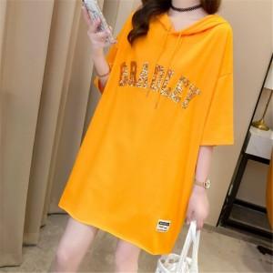Loose Glitter Hoodie Neck Solid Color Top - Orange