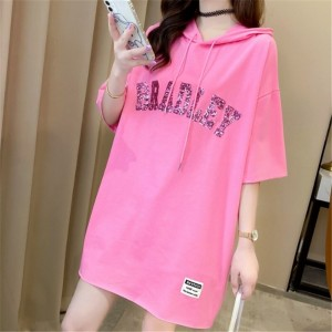 Loose Glittery Hoodie Neck Solid Color Top - Pink