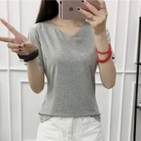 V Neck Short Sleeved Casual Summer T-Shirt For Women - Gray