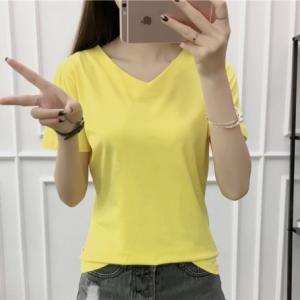 V Neck Short Sleeved Casual Summer T-Shirt For Women - Yellow