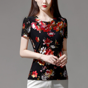 Digital Print Round Neck Floral Blouse Top - Red