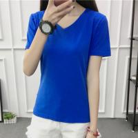 V Neck Short Sleeved Casual Summer T-Shirt For Women - Blue