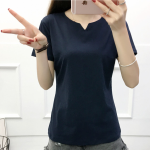 Notched Neck Short Sleeves Summer Wear Blouse Top - Dark Blue