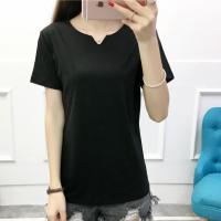 Notched Neck Short Sleeves Summer Wear Blouse Top - Black