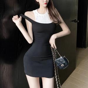Contrast Bodycon Women Fashion Mini Dress - Black