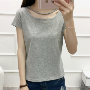 Cut Out Sleeve Boat Neck Hollow Solid Color Top - Gray