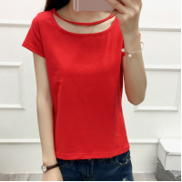 Cut Out Sleeve Boat Neck Hollow Solid Color Top - Red