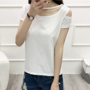 Cut Out Sleeve Boat Neck Hollow Solid Color Top - White