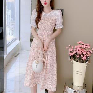 Thin Fabric Printed Midi Dress - Pink