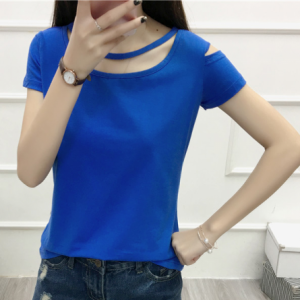 Cut Out Sleeve Boat Neck Hollow Solid Color Top - Blue