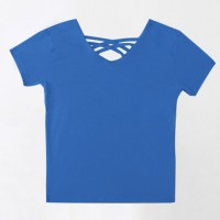 Back Strappy V Neck Casual Summer T-Shirt For Women - Blue