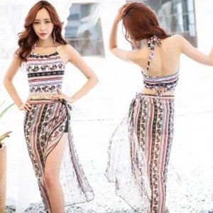Chiffon Thin Fabric Printed Two Pieces Swimwear Suit - Multicolor