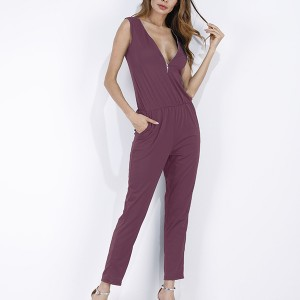 Zipper Closure Sleeveless Jumpsuit - Purple