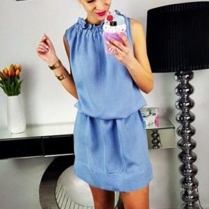 O Neck Solid Color Sleeveless Mini Dress - Blue