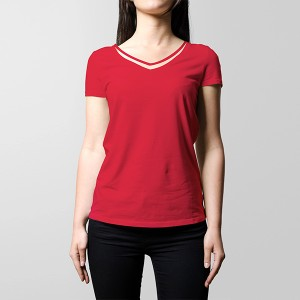 V Neck Style Casual Wear Summer T-Shirt - Red