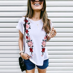 Floral Printed Round Neck Short Sleeves T-Shirt - White
