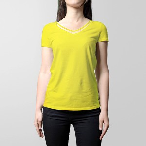 V Neck Style Casual Wear Summer T-Shirt - Yellow