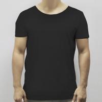 Round Neck Soft Fabric Casual Wear Men T-Shirt - Black