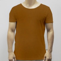 Round Neck Soft Fabric Casual Wear Men T-Shirt - Coffee