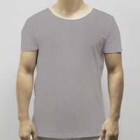 Round Neck Soft Fabric Casual Wear Men T-Shirt - Gray