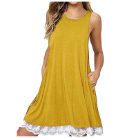 Lace Patched Hem Sleeveless Solid Color Mini Dress - Yellow