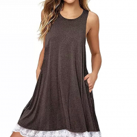 Lace Patched Hem Sleeveless Solid Color Mini Dress - Coffee