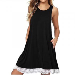 Lace Patched Hem Sleeveless Solid Color Mini Dress - Black