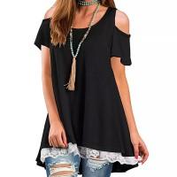 Cold Shoulder Lace Patched Summer Wear Top - Black