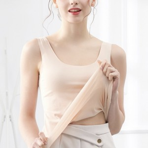 Sleeveless Round Neck Solid Color Top - Skin Color