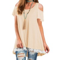 Cold Shoulder Lace Patched Summer Wear Top - Light Yellow