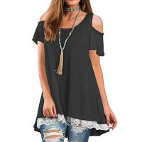 Cold Shoulder Lace Patched Summer Wear Top - Dark Gray