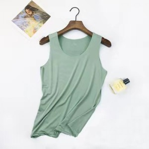 Sleeveless Round Neck Solid Color Top - Green
